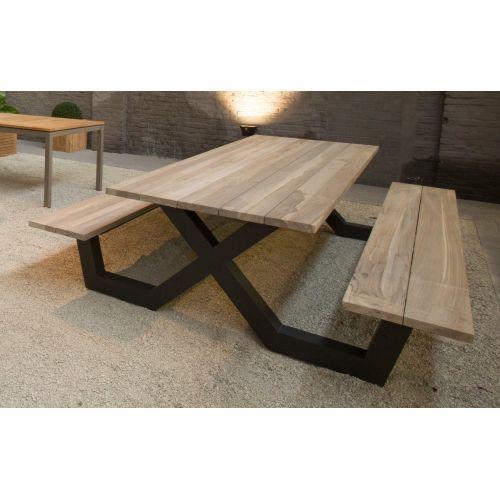 Table Pique Nique Avec Bancs En Teck Massif Et Pieds En Aluminium La Galerie Du Teck Welded Furniture Furniture Design Metal Picnic Tables