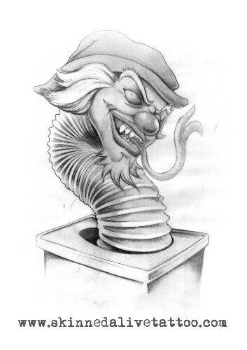 evil jack in a box tattoo sketch tats n art pinterest tattoo and tatting. Black Bedroom Furniture Sets. Home Design Ideas