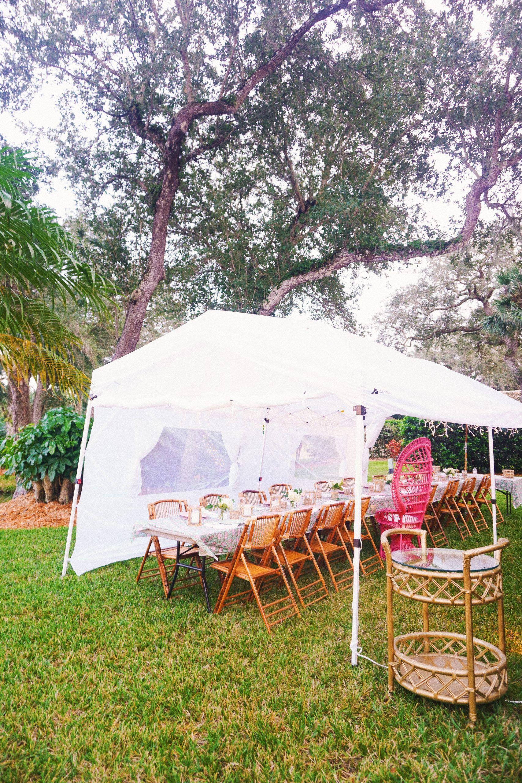 Vero Beach, Florida outdoor dinner party with block print