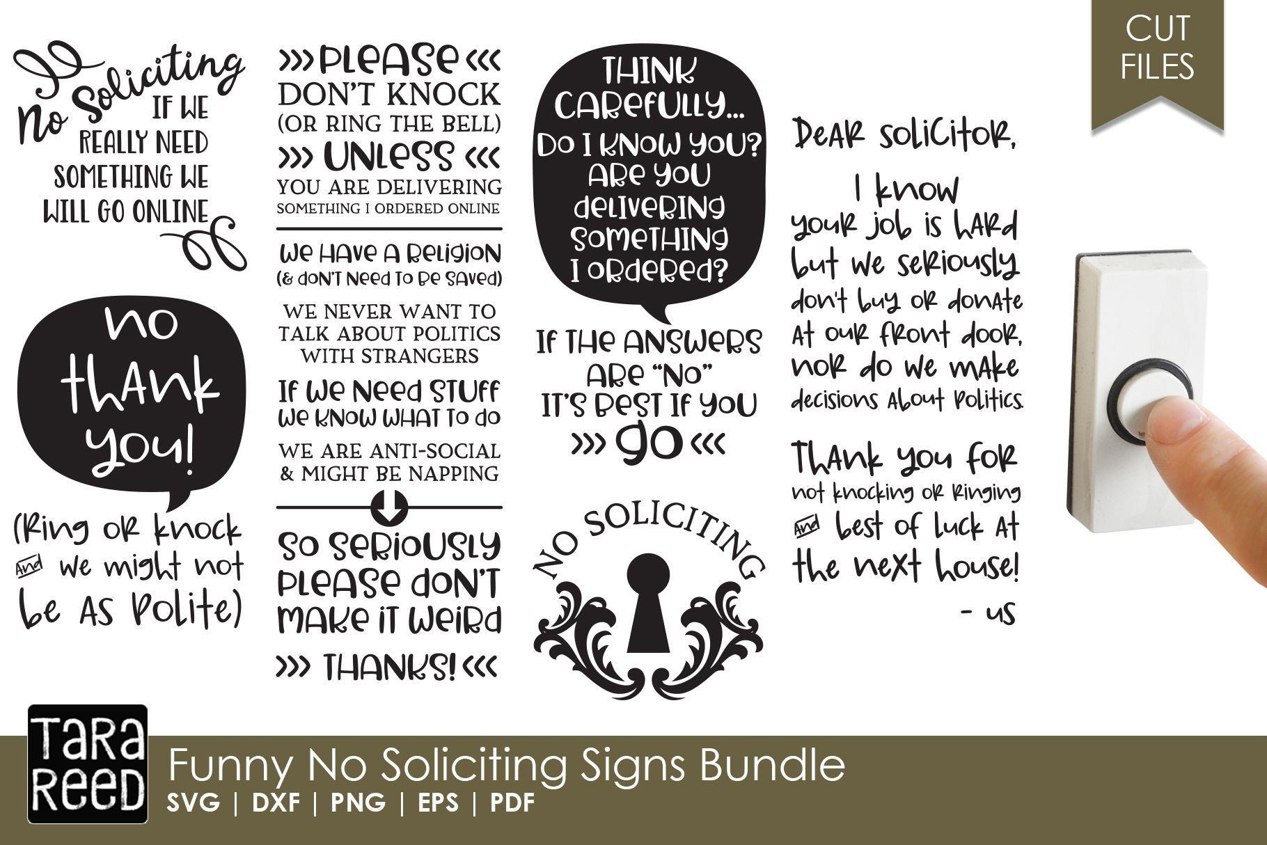 Funny No Soliciting Sign Bundle (132797) | Cut Files | Design Bundles