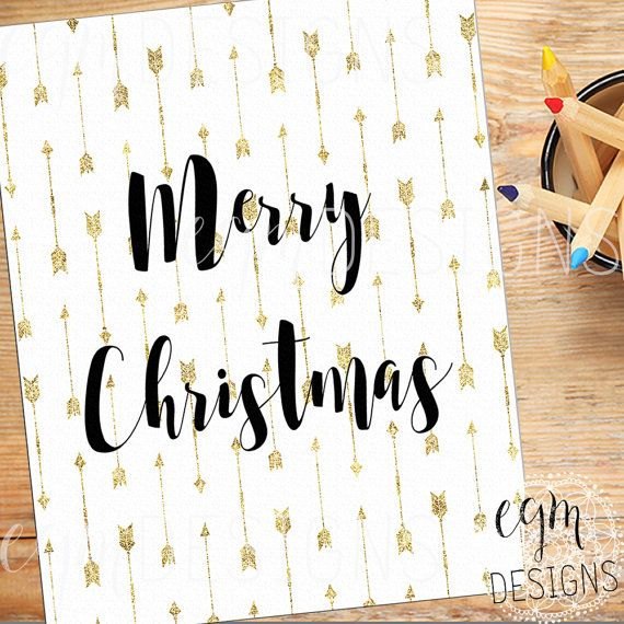 Merry Christmas Gold Arrows Digital Print Holiday by egmDESIGNS