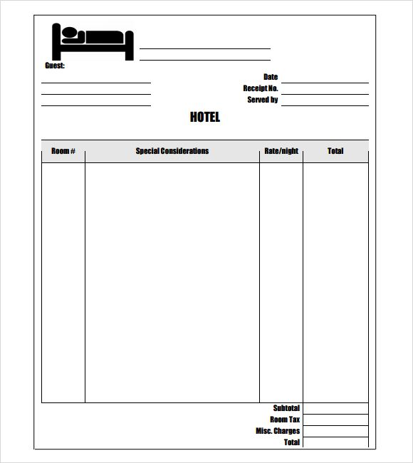 Hotel Receipt Template 7 Free Download For Pdf Word Receipt Template Invoice Template Word Invoice Template
