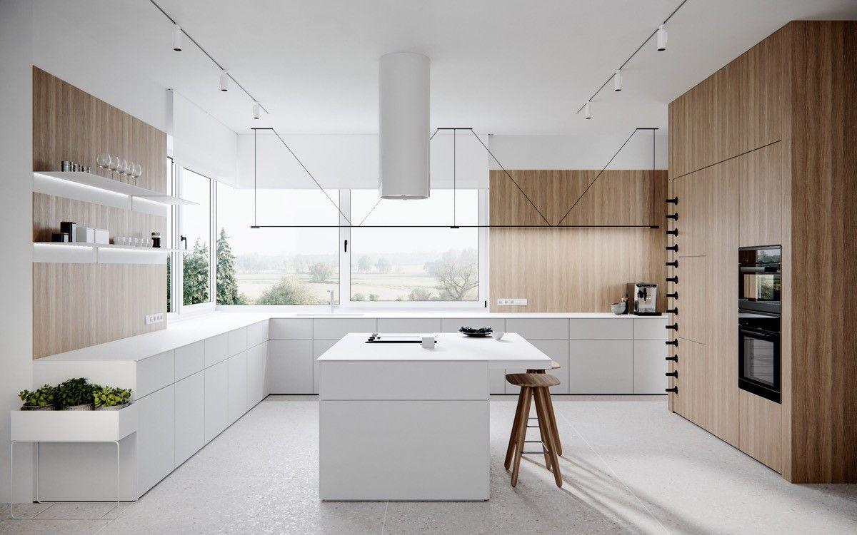 Okap Wyspowy Cylindro White Nortberg Modern L Shaped Kitchens Kitchen Decor Modern Kitchen Layout