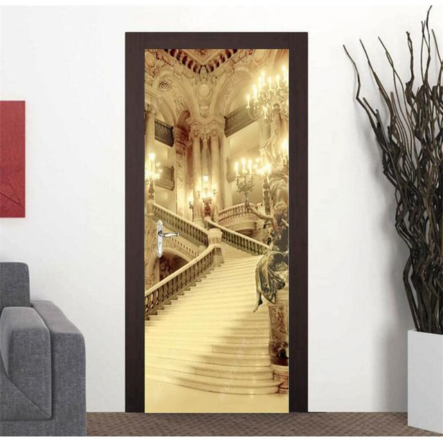 Door-Sticker-Self-Adhesive-Painting-Wallpaper-Palace-Staircase-3D ...