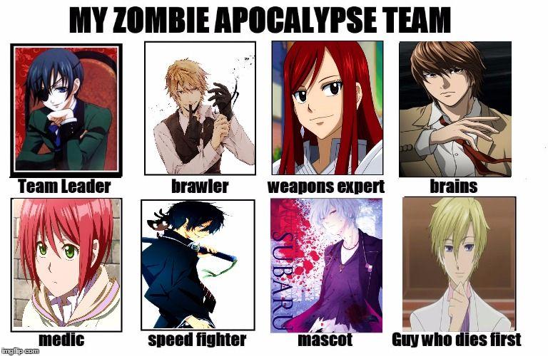 My Zombie Apocalypse Team Anime Zombie Zombie Apocalypse Team Anime Memes Funny