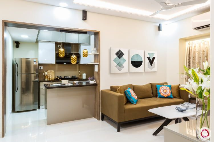 Clever Compact Home For Mumbaikars Open Kitchen Living Room