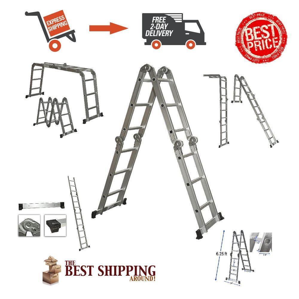 Scaffold Ladder Heavy Duty Giant Aluminum 12.5 ft Best Choice Products SKY528 #BestChoiceProducts