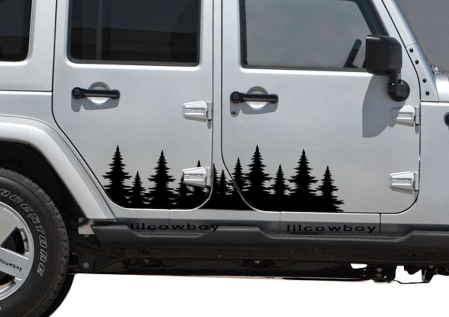 Matte Black Jeep Climbing Mountain Decals For 2007-2018 Jeep Wrangler JK JL 4