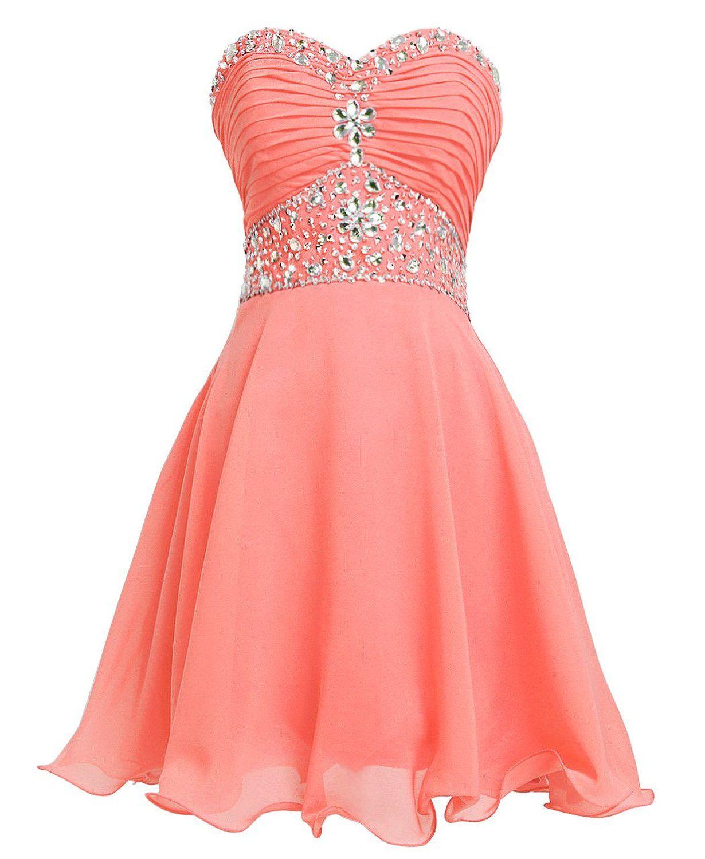 Short Chiffon Strapless Crystal Homecoming Dres | dresses ...