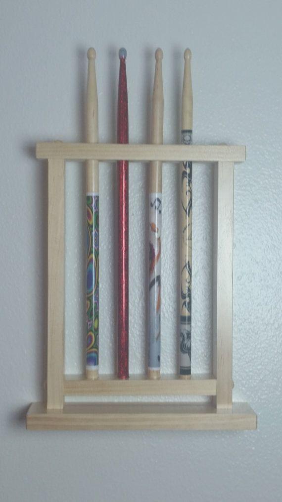 drum stick display drumstick holder holds 4 sticks wall mount version custom made new solid wood. Black Bedroom Furniture Sets. Home Design Ideas