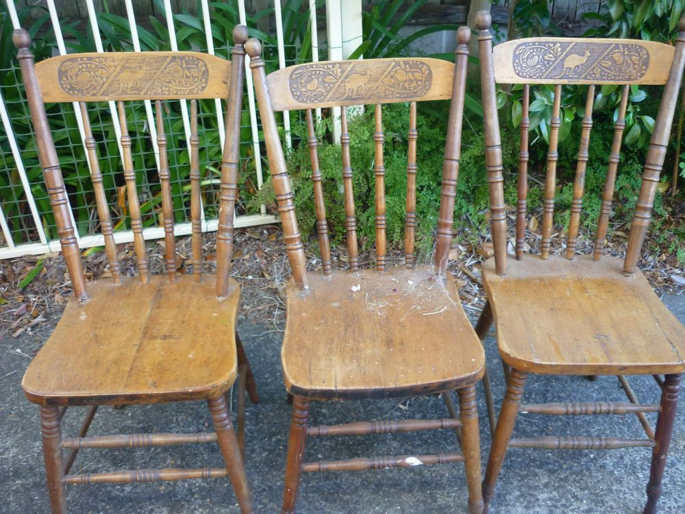 3 Rare Orig Antique Australian C1900 Kangaroo Federation Spindle Back Chairs Chair Antique Chairs Wooden Chair