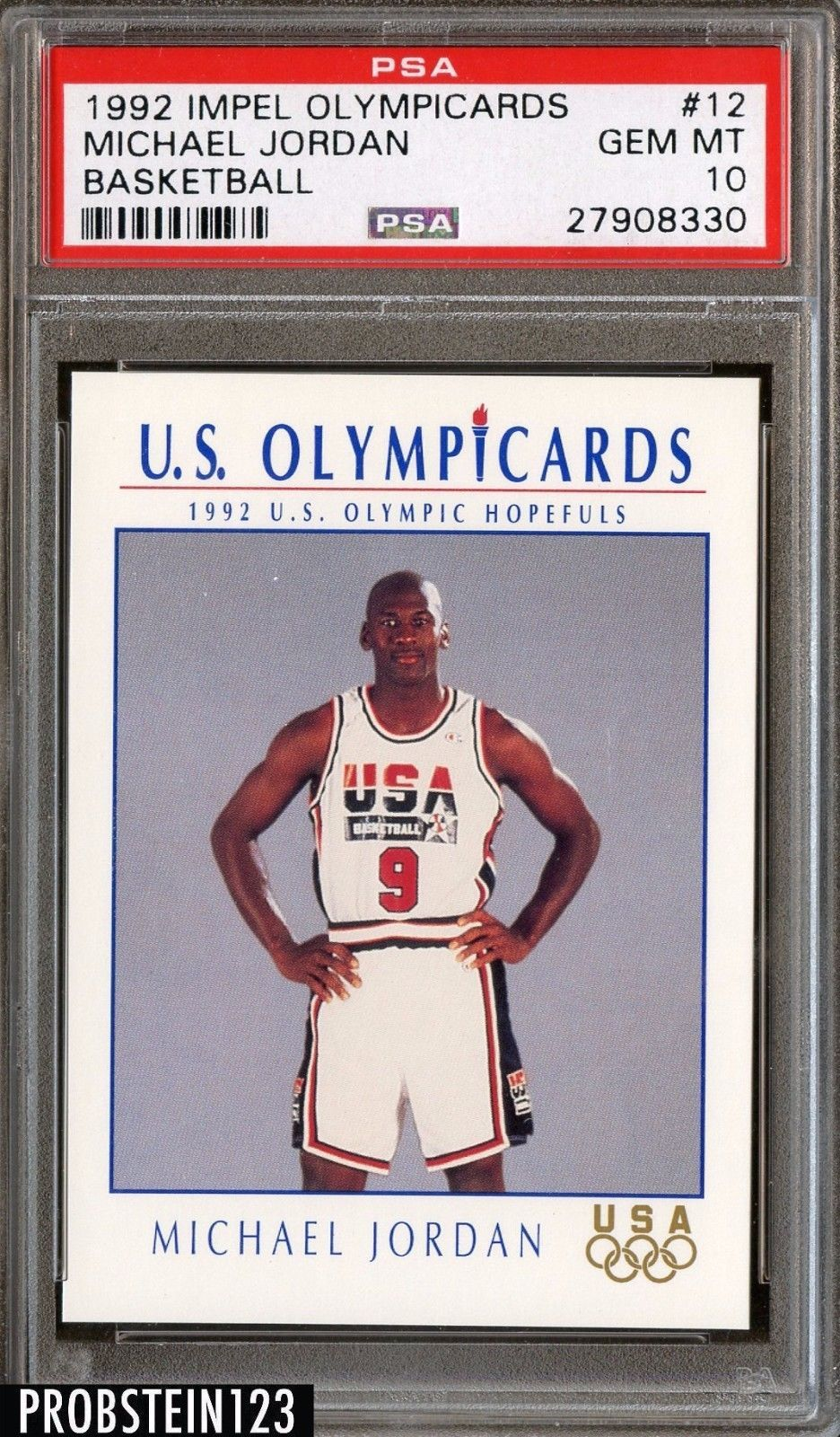 28b68ee15ab 1992 Impel Olympicards Basketball #12 Michael Jordan Dream Team HOF PSA 10 # MichaelJordan