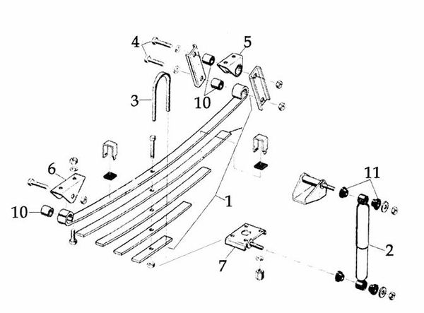 jeep cj suspension parts exploded view diagram  years 1972
