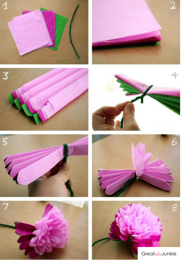 Flower made out of tissue paper diy projects pinterest tissue flower made out of tissue paper easy paper flowersorigami mightylinksfo