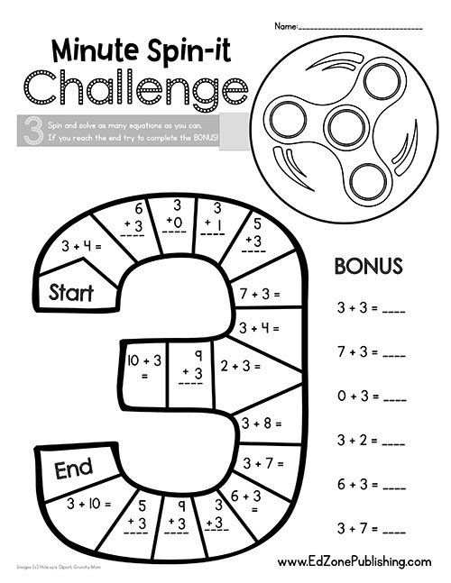 Fidget Spinner Math Worksheets Fid Spinner Minute Math