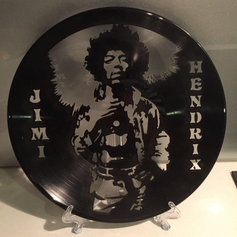 Jimi Hendrix Upcycled Vinyl Record Wall Clock