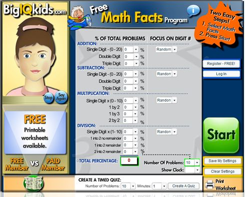 math drill resource website (you can customize to level of child ...