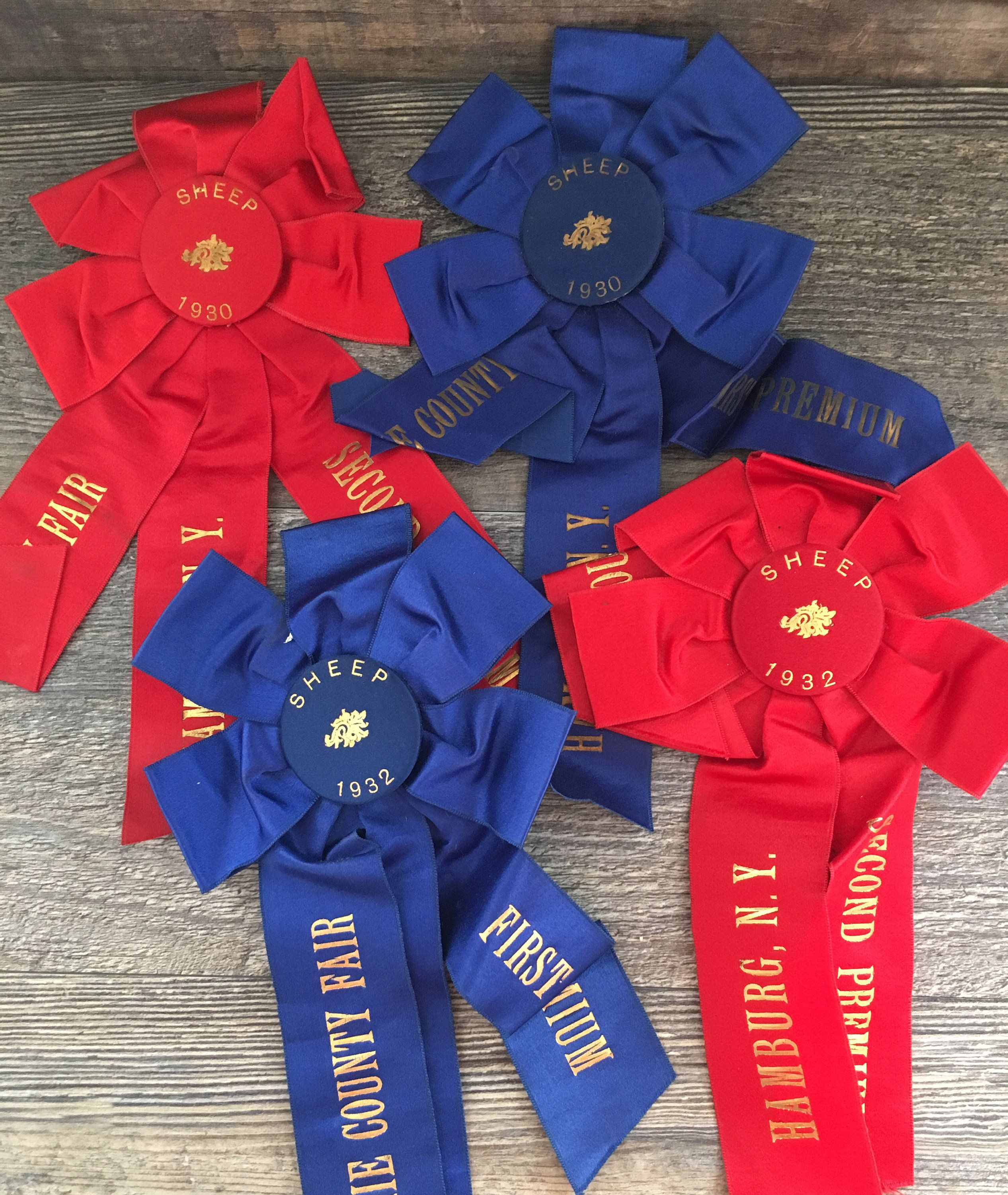Set of 4 Vintage 1930's Sheep County Fair Red and Blue