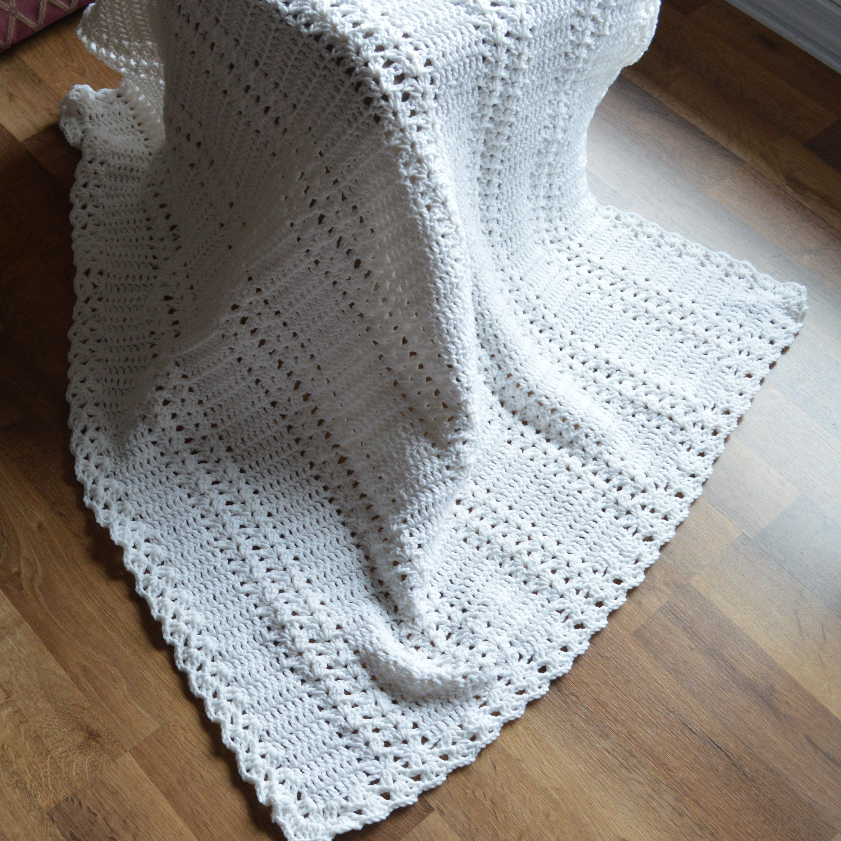 White Double Shell Baby Afghan
