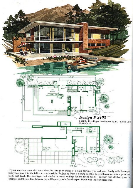 P2403 Mid Century Modern House Plans Vintage House Plans Mid Century Modern House