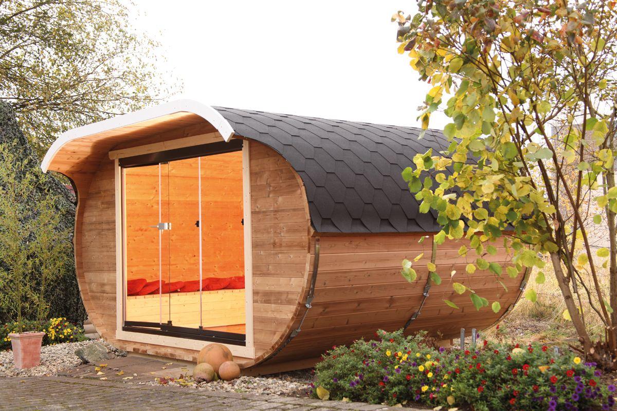 Das ovale Gartenhaus mit GlasSchiebetür von Wolff