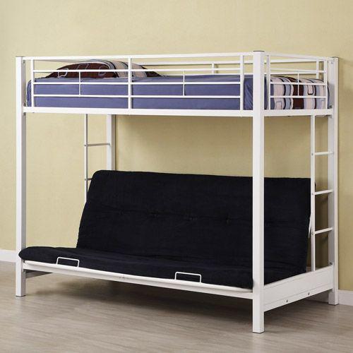 Twin Over Futon Premium Metal Bunk Bed White Kids & Teen