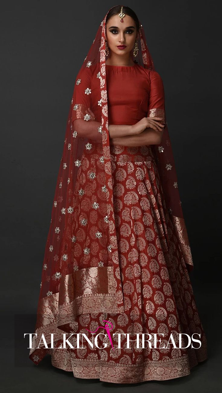 44f526eb6642d Poppy Red Banarasi Zari Pure Silk Lehenga Skirt Outfit With Dupatta ...