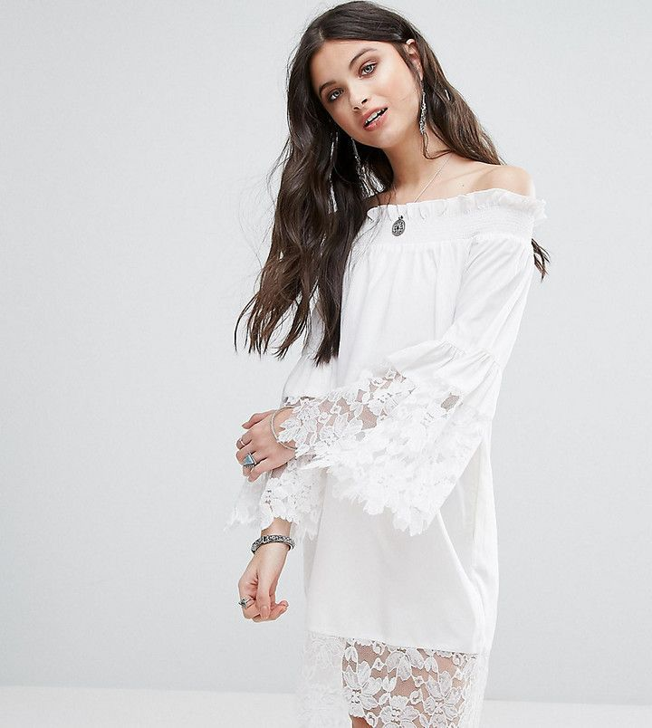 b269aed767aaa White Cove Petite Allover Lace Crochet Off Shoulder Dress