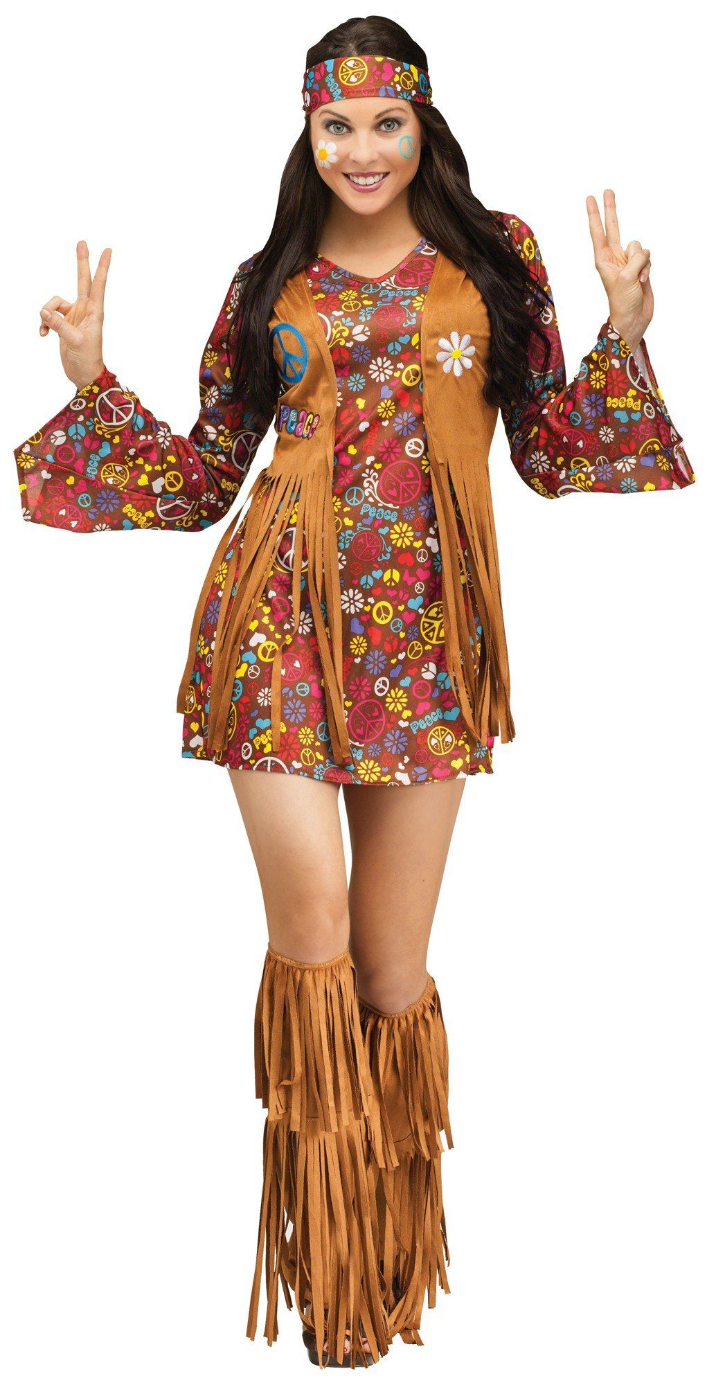 Fun World Costumes Womens Peace Love Hippie Adult Costume Brown