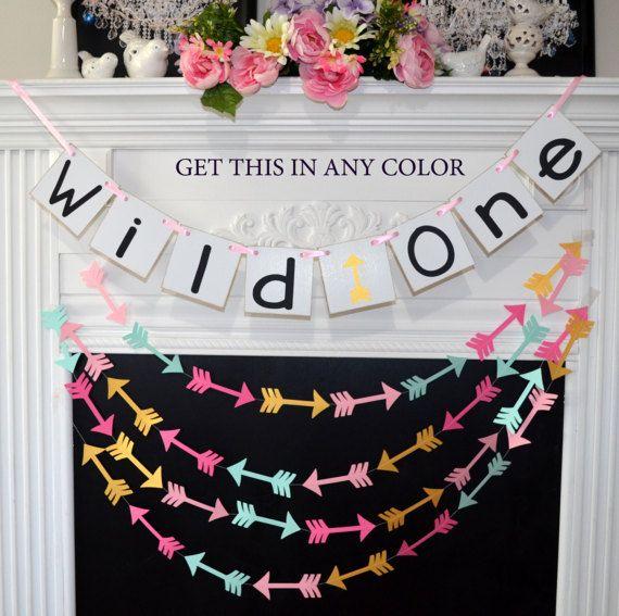 Wild One Banner First Birthday Decoration or Photo Prop