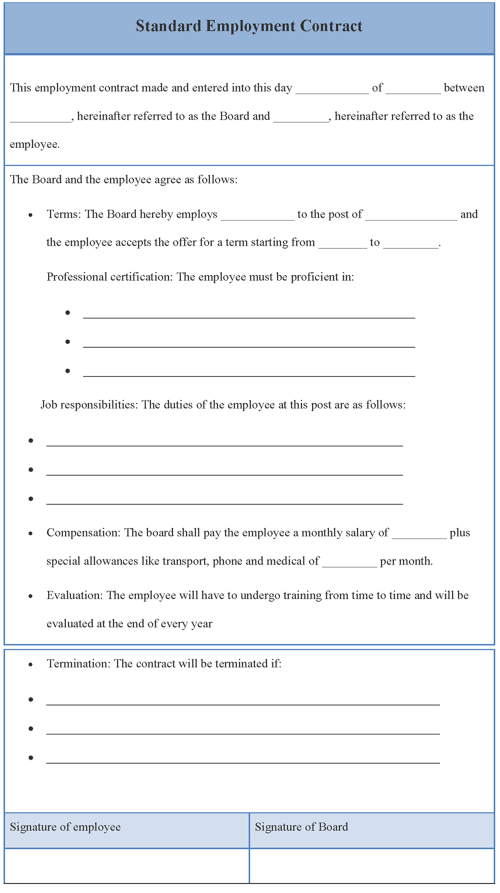Standard Employment Contract Template Contract template