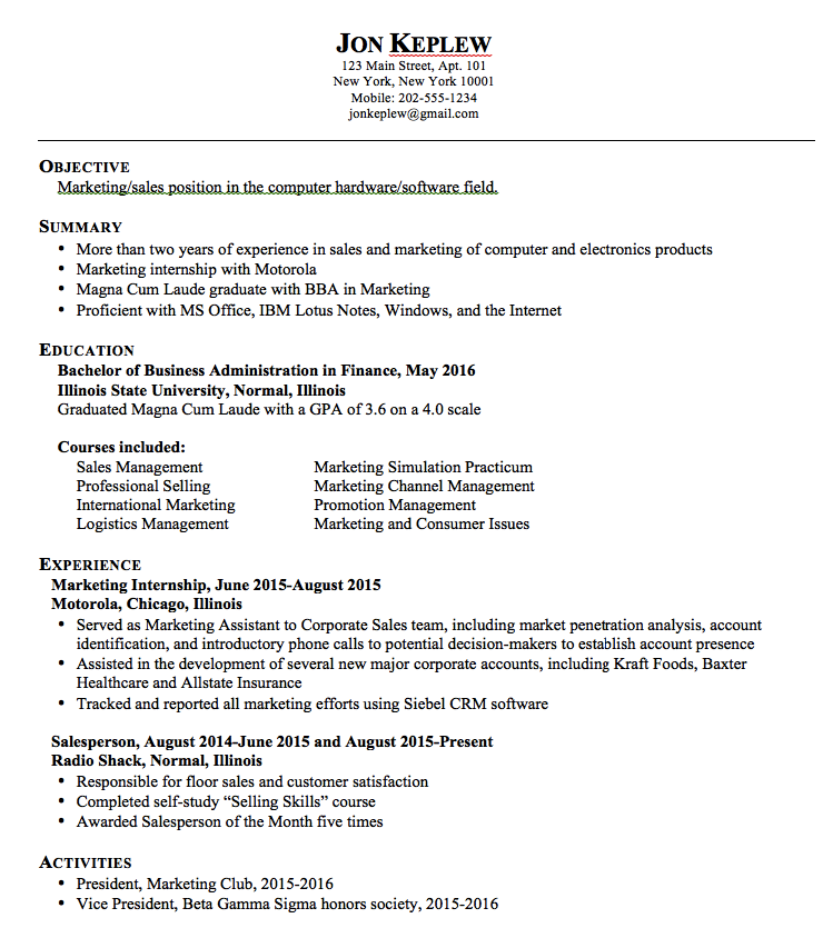 Sample Resume Marketing Examples Resume Cv