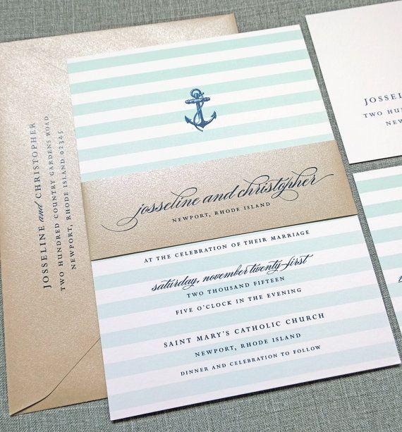 Josseline Nautical Wedding Invitation Sample With Belly Band
