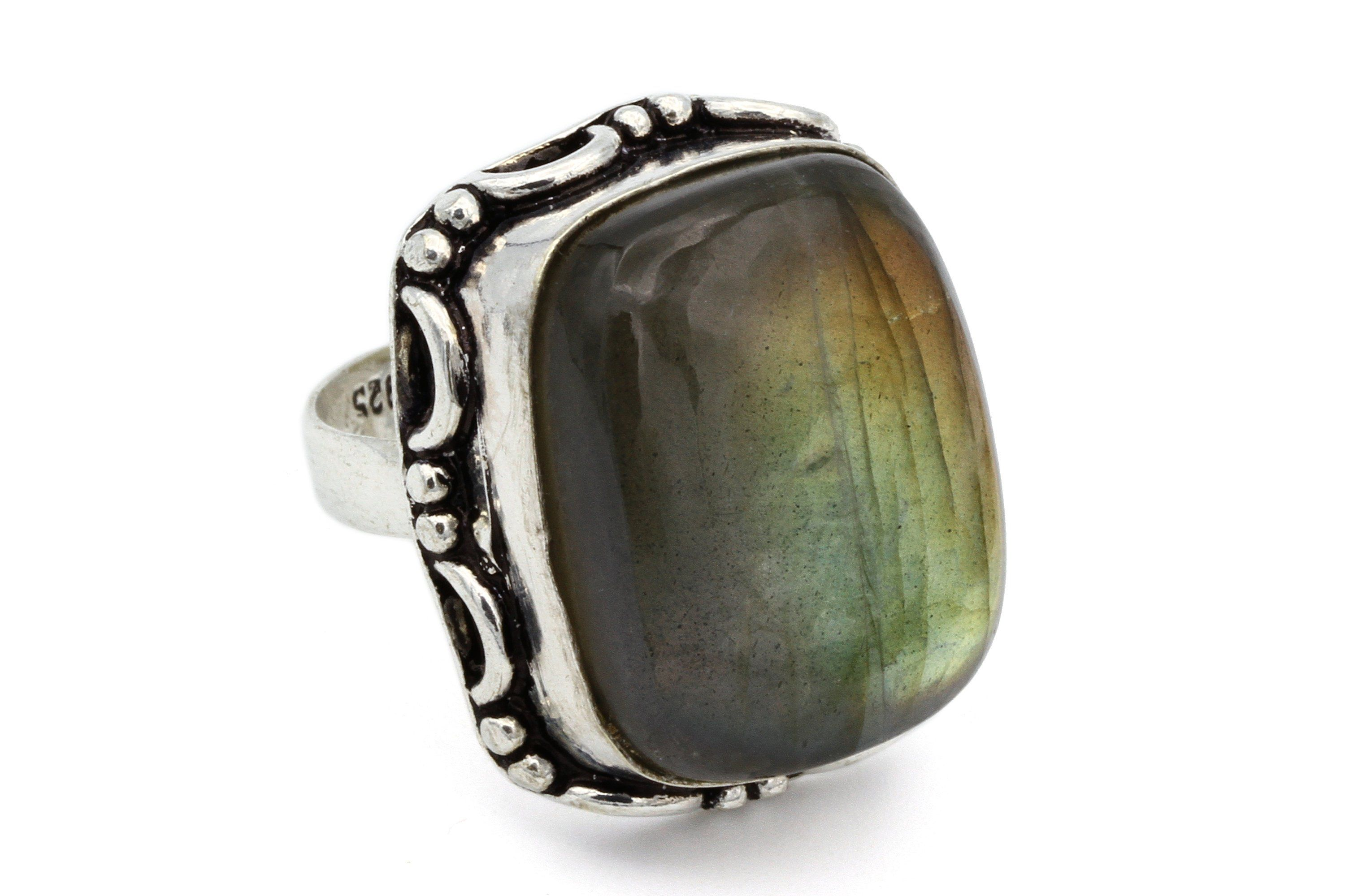 size 6 Oval Labradorite Gemstone Gold Plated Sterling Silver Statement Ring