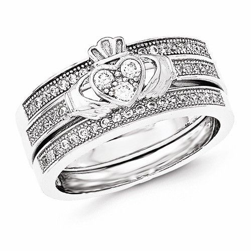 Sterling Silver Claddagh Pave Trio Set Rings Claddagh Sterling