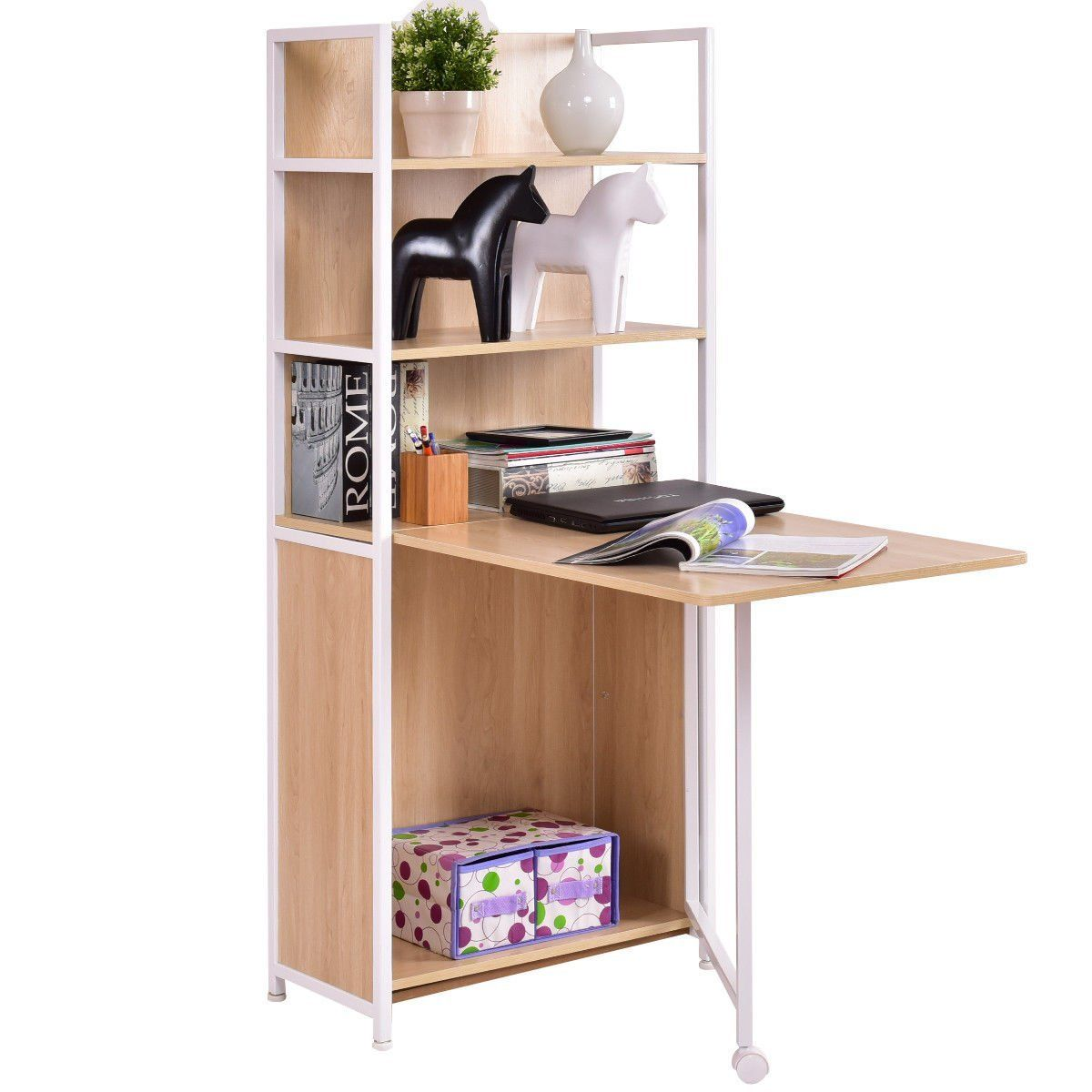 Tangkula Convertible Desk Wood Folding Cabinet Laptop Computer With Shelf Kitchen Dining