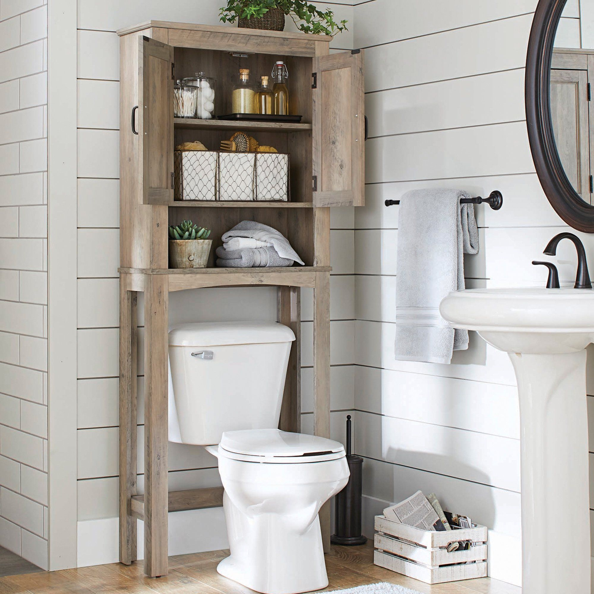 Better Homes Gardens Modern Farmhouse Over The Toilet Bathroom Space Saver With Three Fixed Shelves Rustic Gray Finish Walmart Com In 2021 Bathroom Space Saver Bathroom Space Toilet Shelves [ 2000 x 2000 Pixel ]