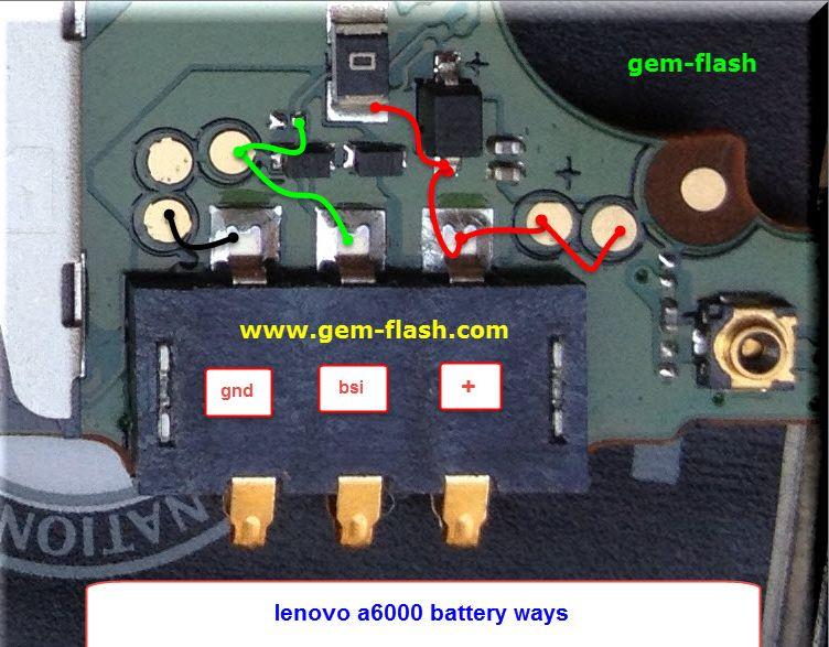 Lenovo A6000 Battery Connector Terminal Jumper Ways