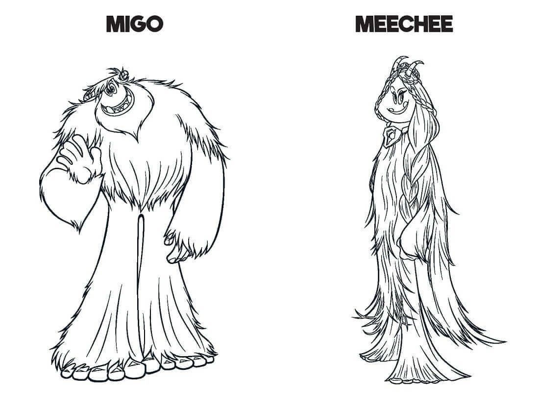 Smallfoot Film Coloring Pages Migo And Meechee Coloring Pages