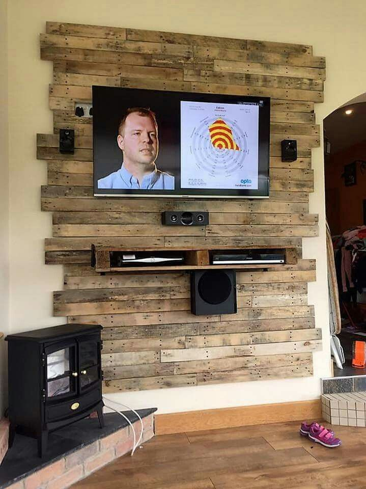 Tv Wall Diy Pallet Wall Pallet Furniture Tv Stand Wood Pallet Wall