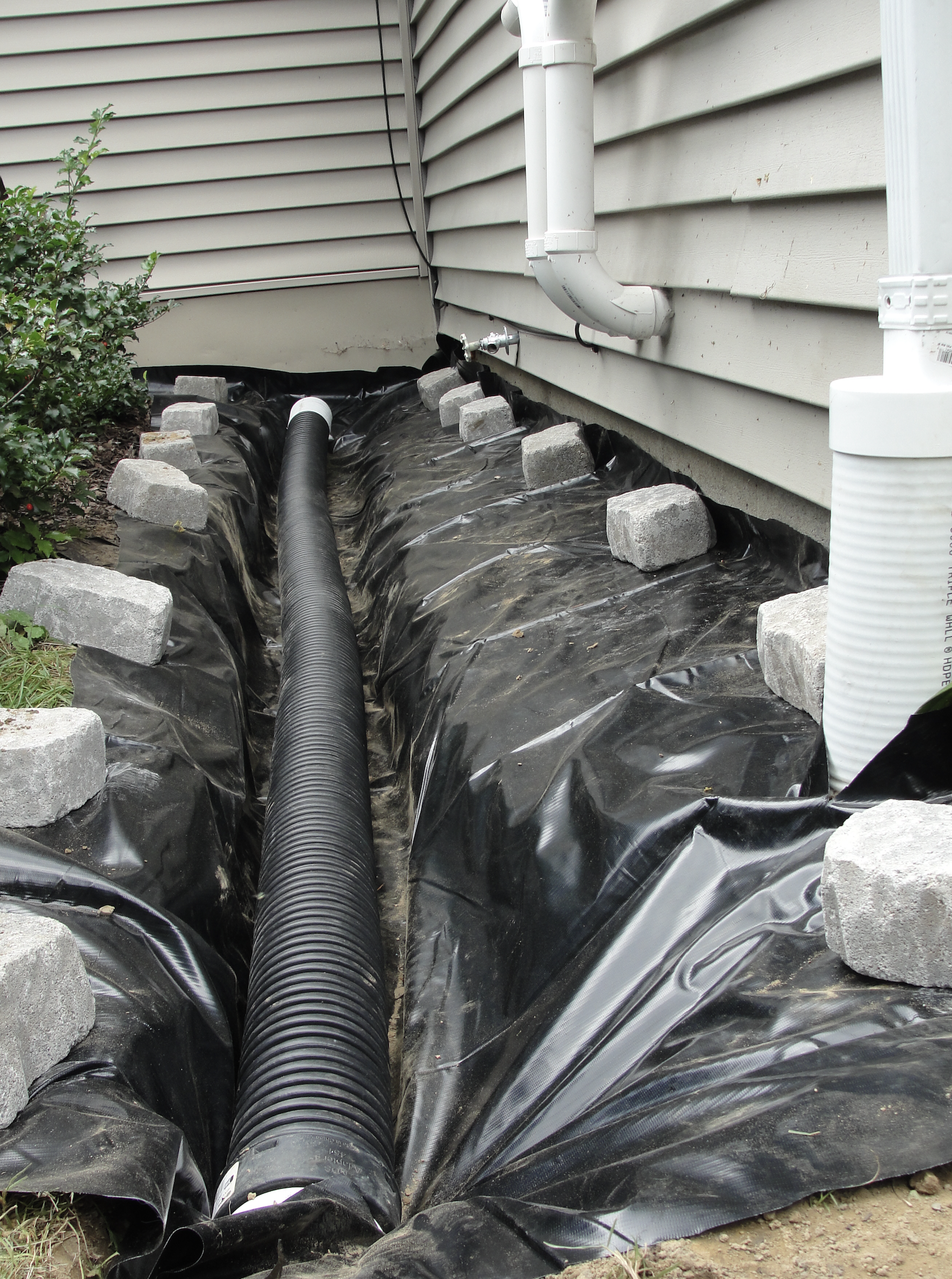 Exterior French Drain Drainage System