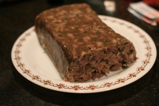 Head cheese (also known as brawn) doesn't actually contain any cheese – it's a boiled pig's head, with the meat removed and chopped up, then set in a terrine mould with jelly made from the cooking broth.