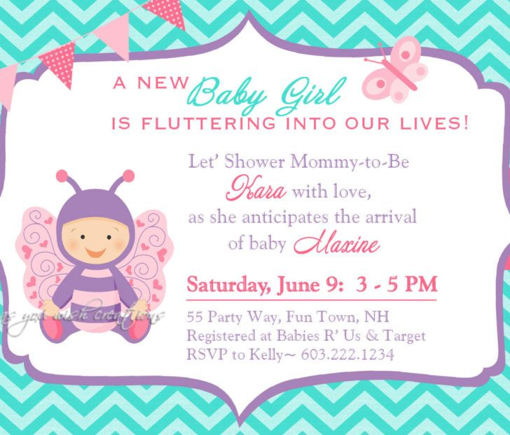 Cute Butterfly Baby Shower Invitation Design Turquoise and Aqua Blue Chevron Background.