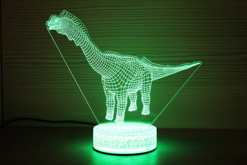 Dinosaurs Brachiosaurus 3d Night Lamp 3d Night Light Children Etsy Night Lamps 3d Night Light Kids Lighting