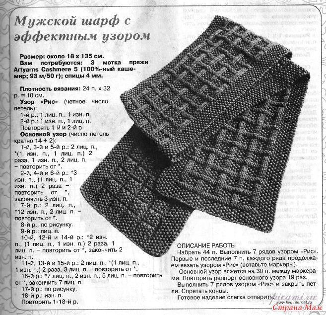 Мужской шарф спицами схема вязания