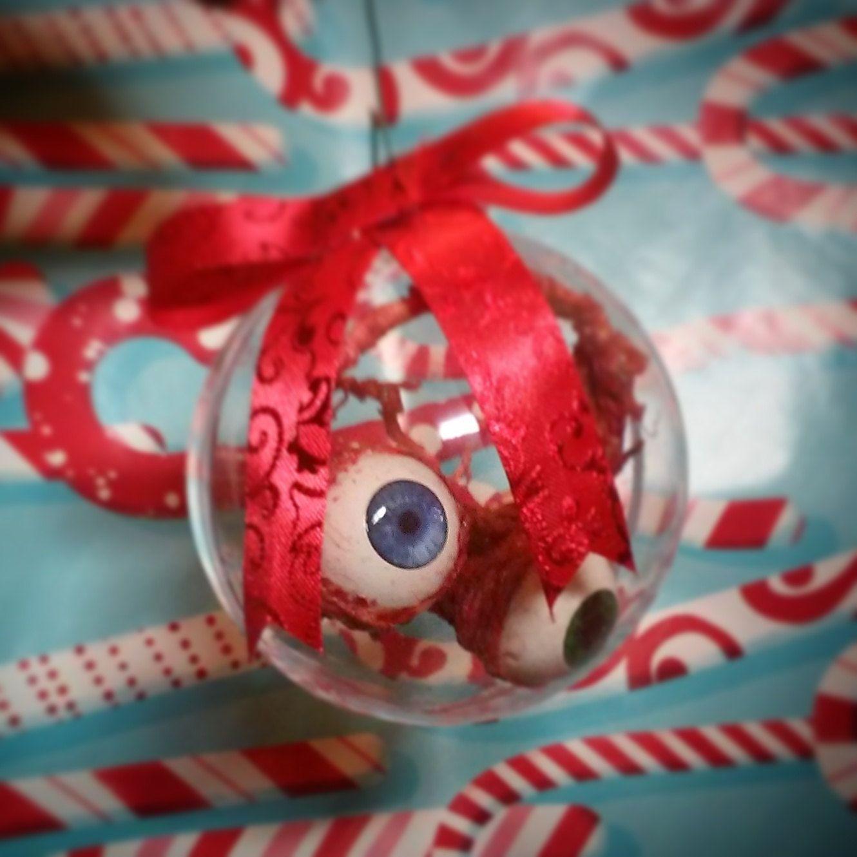 Eyeball christmas ornaments - Christmas Ornament Gift For Horror Fans Gore Lovers Set Of 2 Realistic Bloody Eyeballs Pair Of