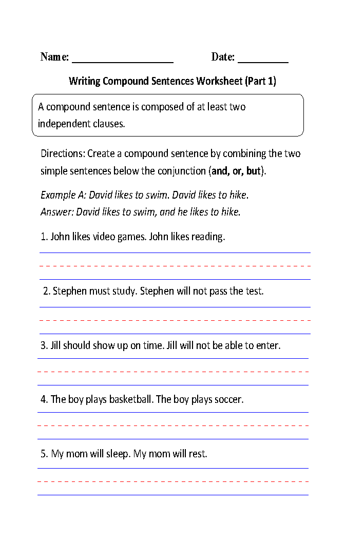 Writing Compound Sentences Worksheet Part 1 4th Grade Ela