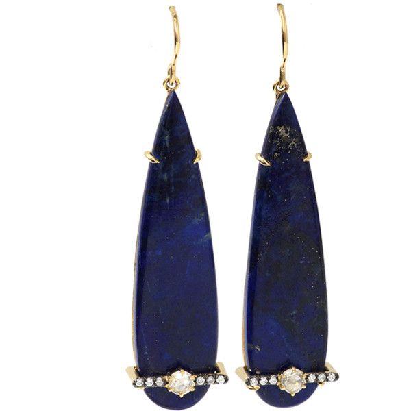 Jemma Wynne Pear Shape Lapis Earrings (34 805 SEK) ❤ liked on Polyvore