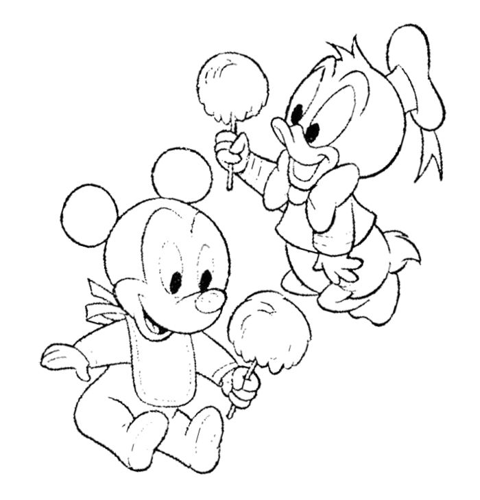 Baby Mickey Mouse Eating Cotton Candy Coloring Page | Askartelu ...