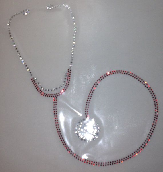 Stethoscope Crystal Bling Transfer Huge 8x8 By